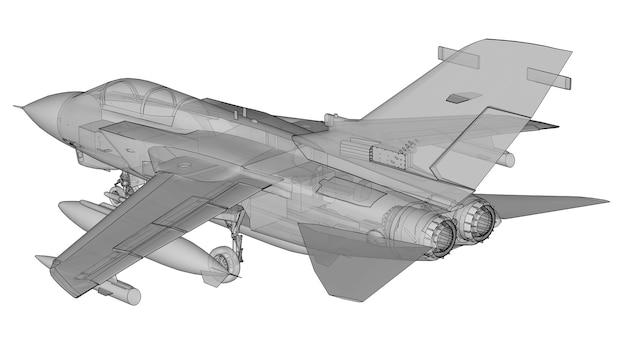 군사 제트 전투기 실루엣입니다. 등고선 그리기 항공기의 이미지입니다. 항공기의 내부 구조. 3d 렌더링.