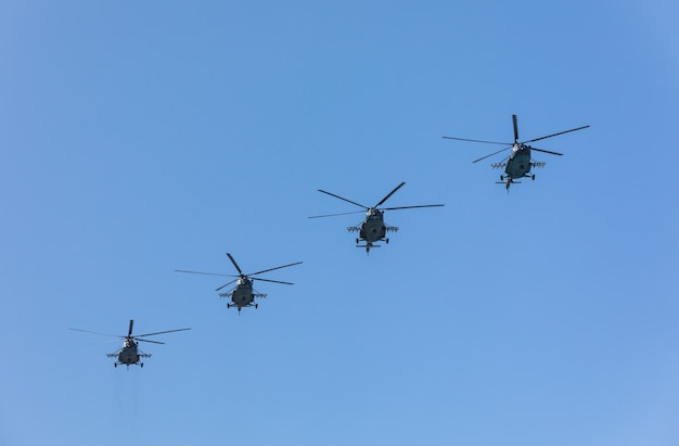 Military parade in kiev. military and military transport aviation on the occasion of independence day of ukraine