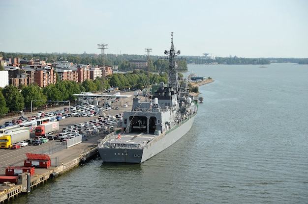 Military ship at the cargo terminal in the port of helsinki