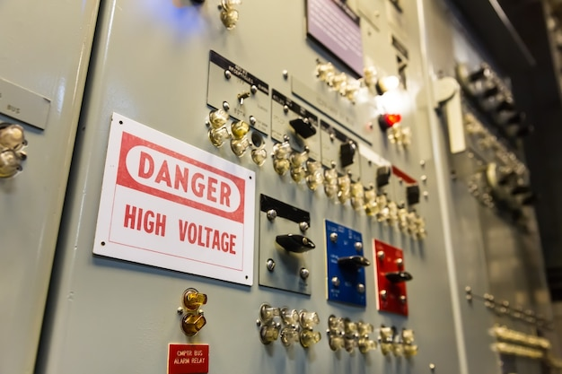 Military ship high voltage control panel.