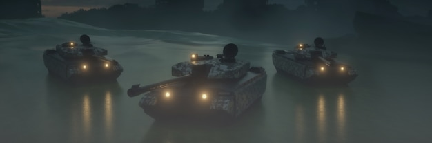 Военные танки со светом на туманном небе
