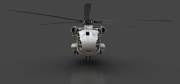 灰色の背景に軍用輸送機または救助ヘリコプター。 3dイラスト。