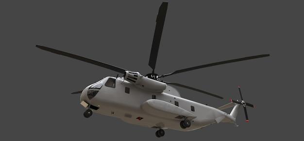 灰色の背景に軍用輸送機または救助ヘリコプター
