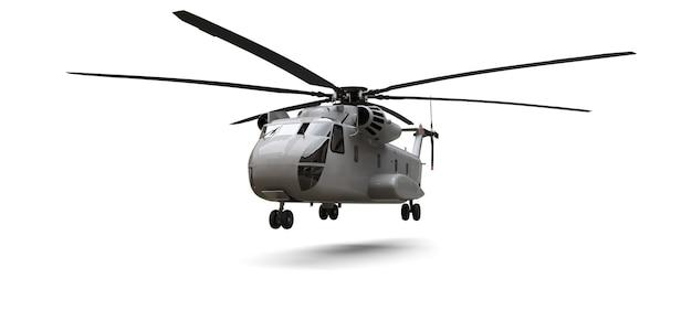 白い背景の上の軍用輸送機または救助ヘリコプター。 3dイラスト。
