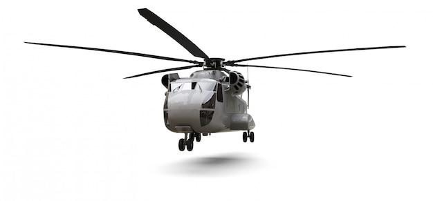 ホワイトスペースの軍用輸送または救助ヘリコプター。 3 dイラスト。
