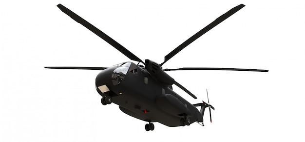 白い表面に軍用輸送または救助ヘリコプター
