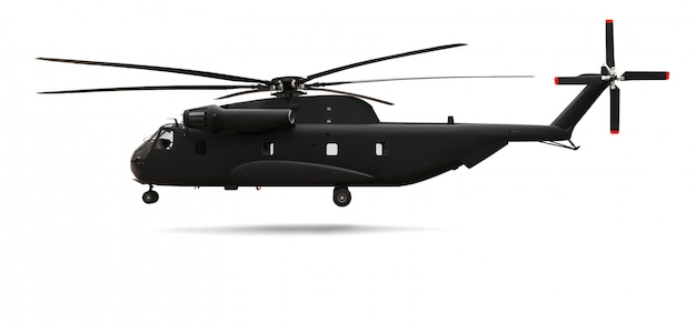 Military transport or rescue helicopter. 3d rendering.