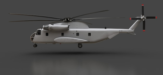 Military transport or rescue helicopter on grey background. 3d illustration.