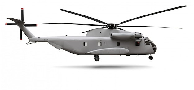 Military transport or rescue helicopter on white background