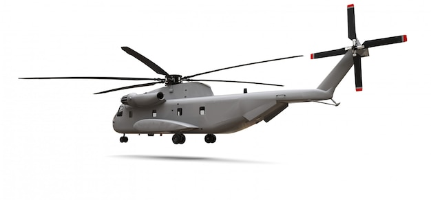 Military transport or rescue helicopter on white space. 3d illustration.
