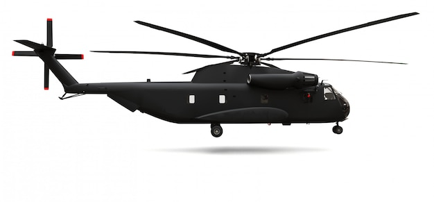 Military transport or rescue helicopter on white surface