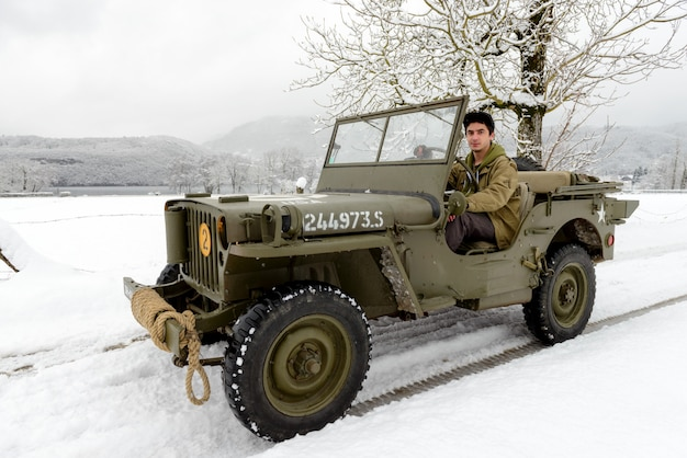 A military vehicle in the snow