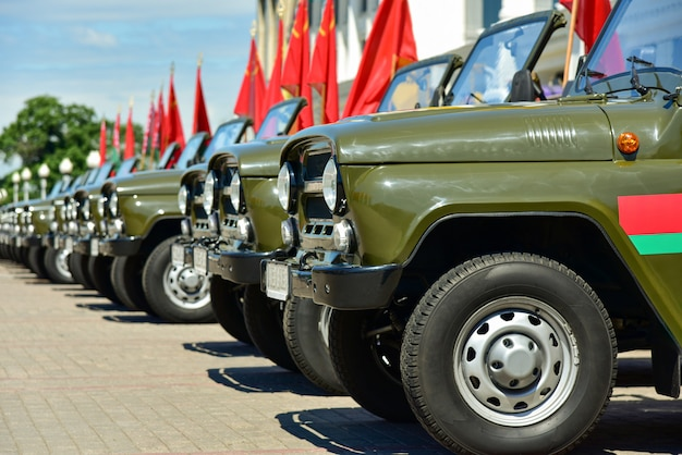 Military vehicles on a square in minsk in belarus