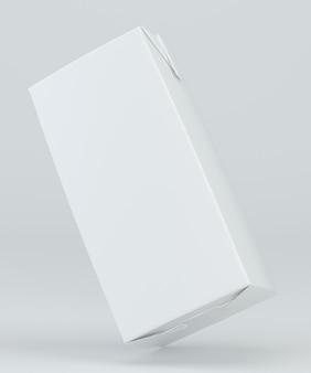 白い背景の上のミルクとジュースのカートンのパッケージ。 3dレンダリング。