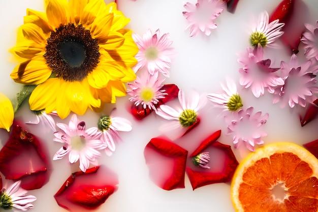 아름다운 꽃과 자몽으로 장식 된 우유 목욕