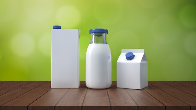 Milk bottle with label 3d rendering.