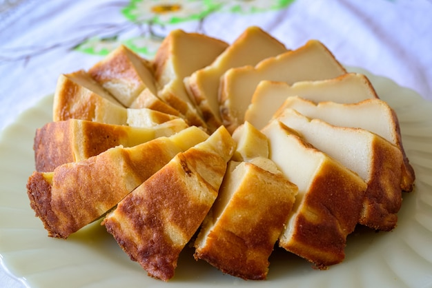Milk cake also known as bolo baeta traditional cuisine from the northeast of brazil