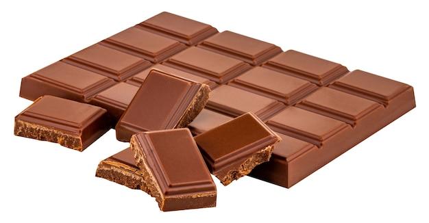 Плитка молочного шоколада, изолированные на белом фоне