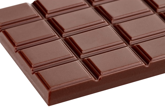 Milk chocolate bar isolated on white background with clipping path..