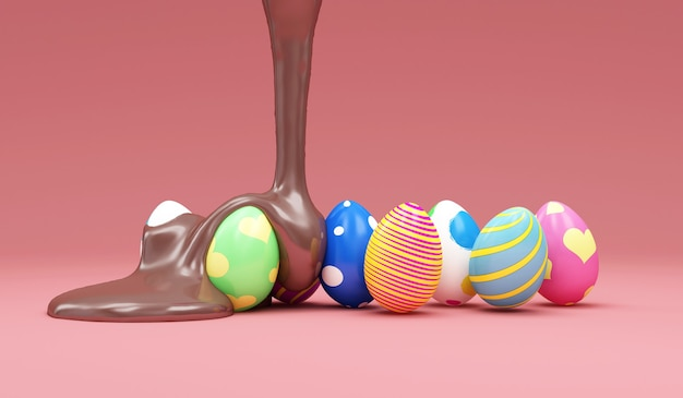 Milk chocolate pouring on painted easter eggs on pink studio background