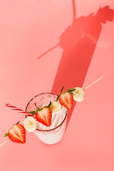 Milk cocktail with strawberry and banana