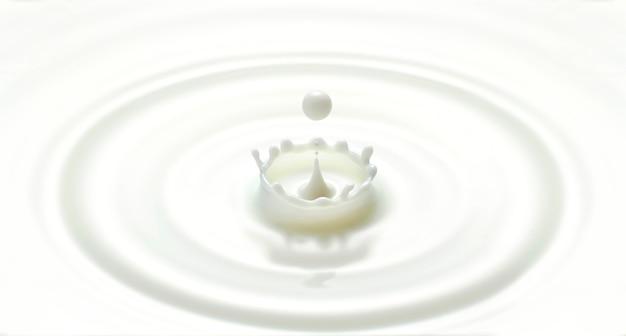 ミルクドロップまたは白い液滴がリップル波を生成し、クラウン形状で飛び散る