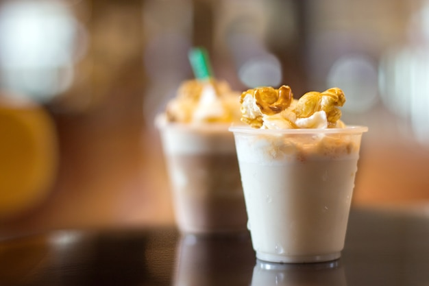 Milk freppe with moose and vipcream caramel