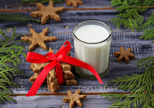 Milk and gingerbread christmas cookies