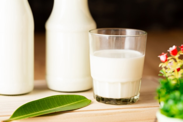 Milk healthy dairy products on table