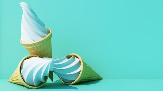 Молочное мороженое со сладким вафельным рожком на бирюзовом цветном фоне минимальная концепция 3d-рендеринга