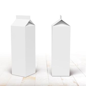 白い板の木製テーブルのミルクまたはジュースのカートンの包装箱の正面図と側面図。 3dレンダリングのモックアップ。