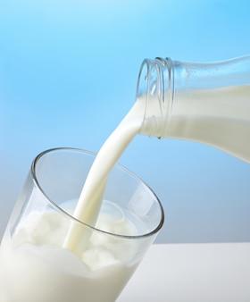 Milk poured into a glass