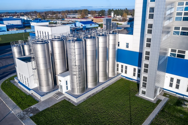 The milk processing plant the facade of the building top view