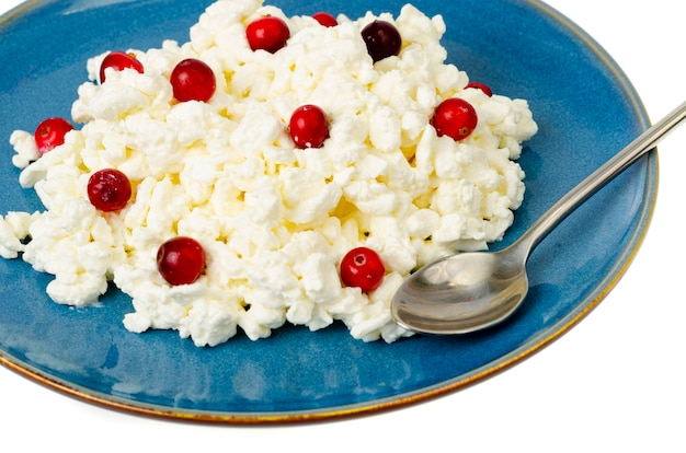 Milk products. farm cottage cheese with red berries on plate.