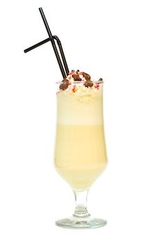 Milk shake with banana fruit, vanilla and chocolate isolated on white