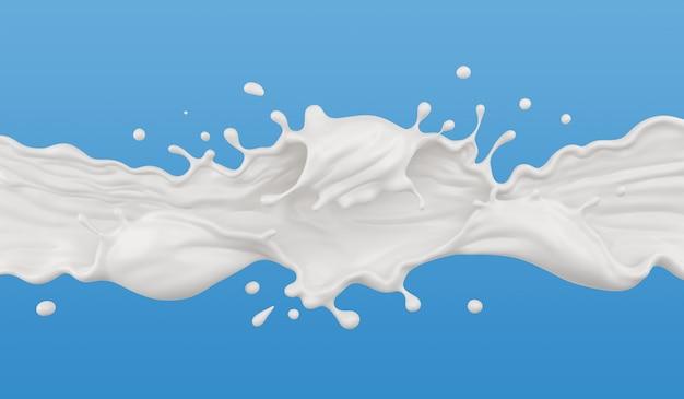 Milk splash isolated on background, liquid or yogurt splash, include clipping path. 3d illustration.