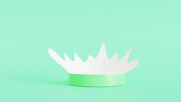 연단 연단에서 우유 튀는 녹색 배경, 3d 렌더링 그림에 고립 된 녹색