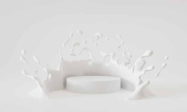 연단 흰색 흰색 배경에 튀는 우유, 3d 렌더링