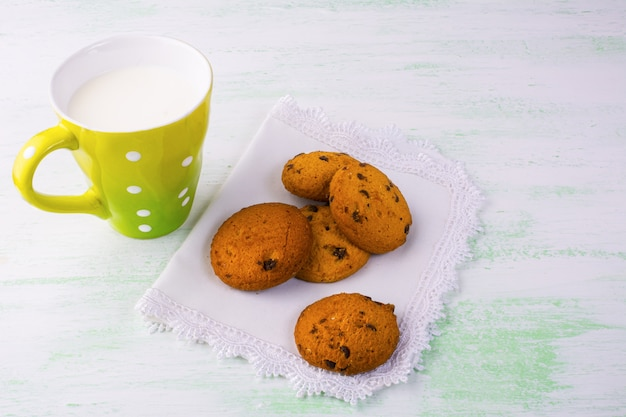 Milk and sweet cookies, copy space