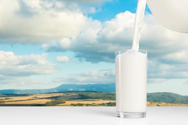 Milk on a table on blue sky