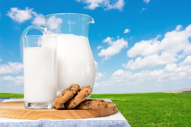 Milk on a table with a natural background