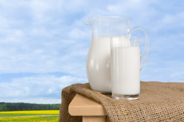 Milk on a table with a natural surface