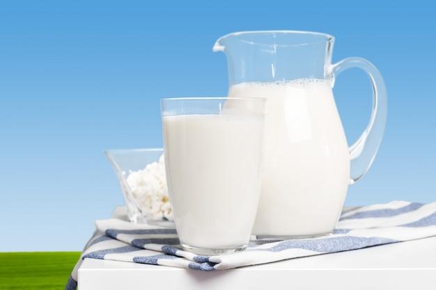 Milk on a table