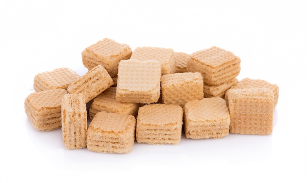 Milk wafers cubes isolated on white background