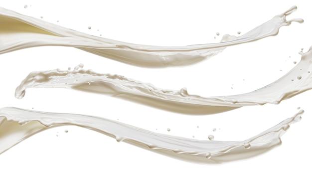 흰색 배경에 고립 된 우유 파도