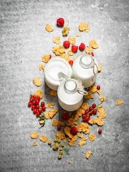 Молоко с хлопьями и ягодами на каменном столе
