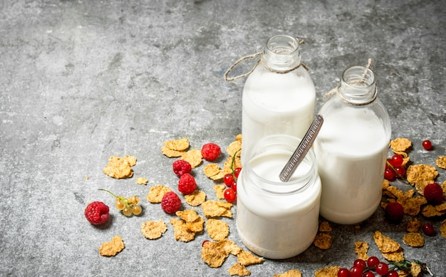 Milk with cereal and berries on the stone table