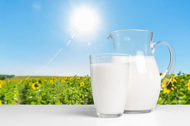 Milk on wooden table