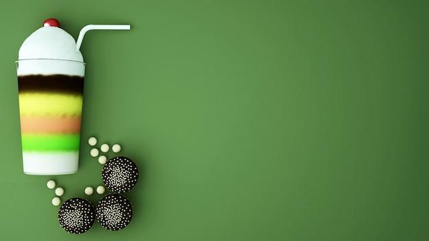Разноцветный молочный коктейль со взбитыми сливками и кекс на зеленом - 3d иллюстрации