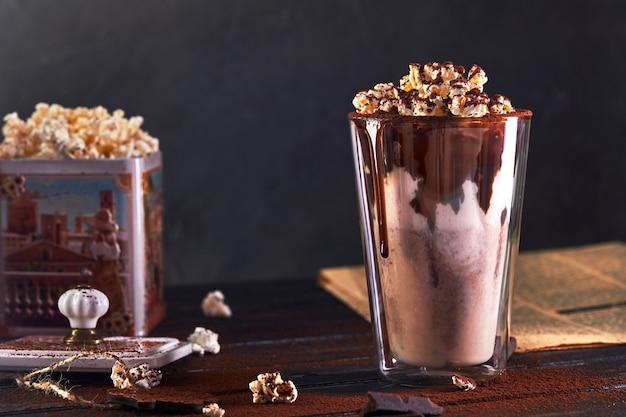 Milkshake with chocolate and popcorn